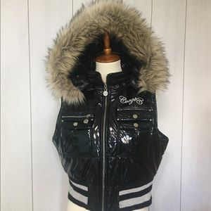 Coogi patent leather puffer vest with fur hood XL